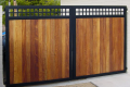 A wooden, metal cladded gate